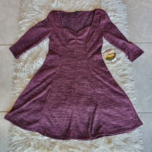 Be Bop Juniors' Wine Marbled Sweetheart Dress